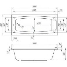 Ванна 1MarKa AELITA, прямоугольная, 180*80 см