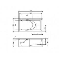 Ванна акриловая Акватика Аксиома 175*95*67 см