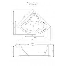 Ванна акриловая Акватика Аквариум 150*150*72 см