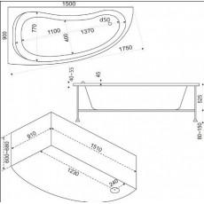 Ванна акриловая Bas Алегра (Alegra) L/R 150*90 см