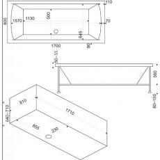 Ванна акриловая Bas Индика (Indika) 170*80 см