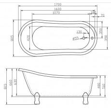 Ванна акриловая BelBagno BB04-BRN 170x80, ножки бронза