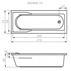 Ванна прямоугольная Cersanit SANTANA, арт. 301035, белая, 170*70 см