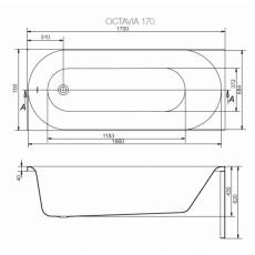Акриловая ванна Cersanit FLAVIA, арт. 301076, белая, 170*70 см