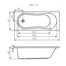 Ванна прямоугольная Cersanit NIKE, арт. 301029, белая, 170*70 см