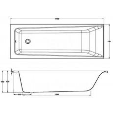 Ванна прямоугольная Cersanit LORENA 170x70 с ножками