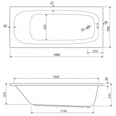 Ванна акриловая Cezares ECO-140-70-40 140*70 см