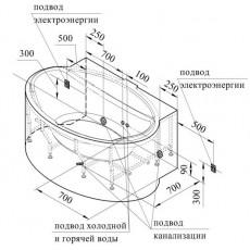 Ванна акриловая Радомир Лагуна 185*124 см