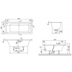 Ванна Villeroy&Boch ArchitecturaUBA180ARA2V-01 с ножками, 180х80 см