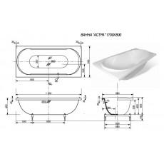 Ванна из литьевого мрамора Эстет Астра 2-0001, литьевой мрамор, 170*80 см