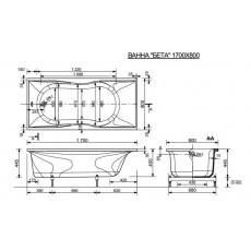 Ванна из литьевого мрамора Эстет Бета 2-0016, 170*80 см