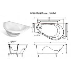 Ванна из литьевого мрамора Эстет Грация 2-0006 L/R, 170*94 см