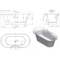 Ванна из литьевого мрамора Astra-Form Монако 174*80 см, литьевой мрамор