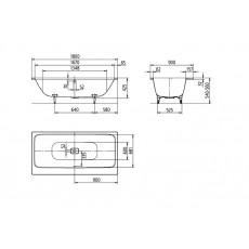 Ванна Kaldewei Asymmetric Duo мод. 742, 180*90*42 см